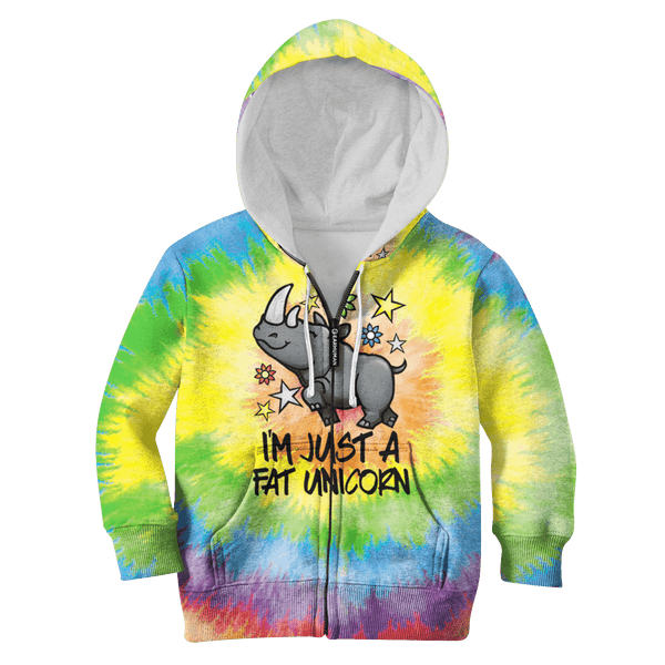 57a4faa92 3D I am just a fat unicorn Kid Full-Print Hoodie T-shirt – Gearhuman
