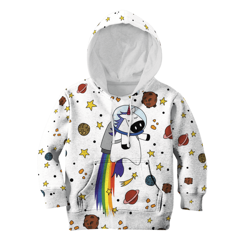 3D Unicorn with planets  Kid Full-Print Hoodie T-shirt