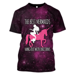 3D The Best Mermaids Hangout With Unicorn   Full-Print T-shirt - Hoodie
