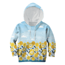 3D  Lion with sunflowers   Kid Full-Print Hoodie T-shirt