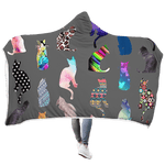3D Colorful Cats  Full-Print Hooded Blanket