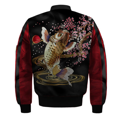 3D  Fish with flowers Nylon-blend Bomber Jacket