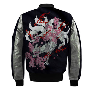 3D  Nine-tailed Fox with flowers Nylon-blend Bomber Jacket Apparel