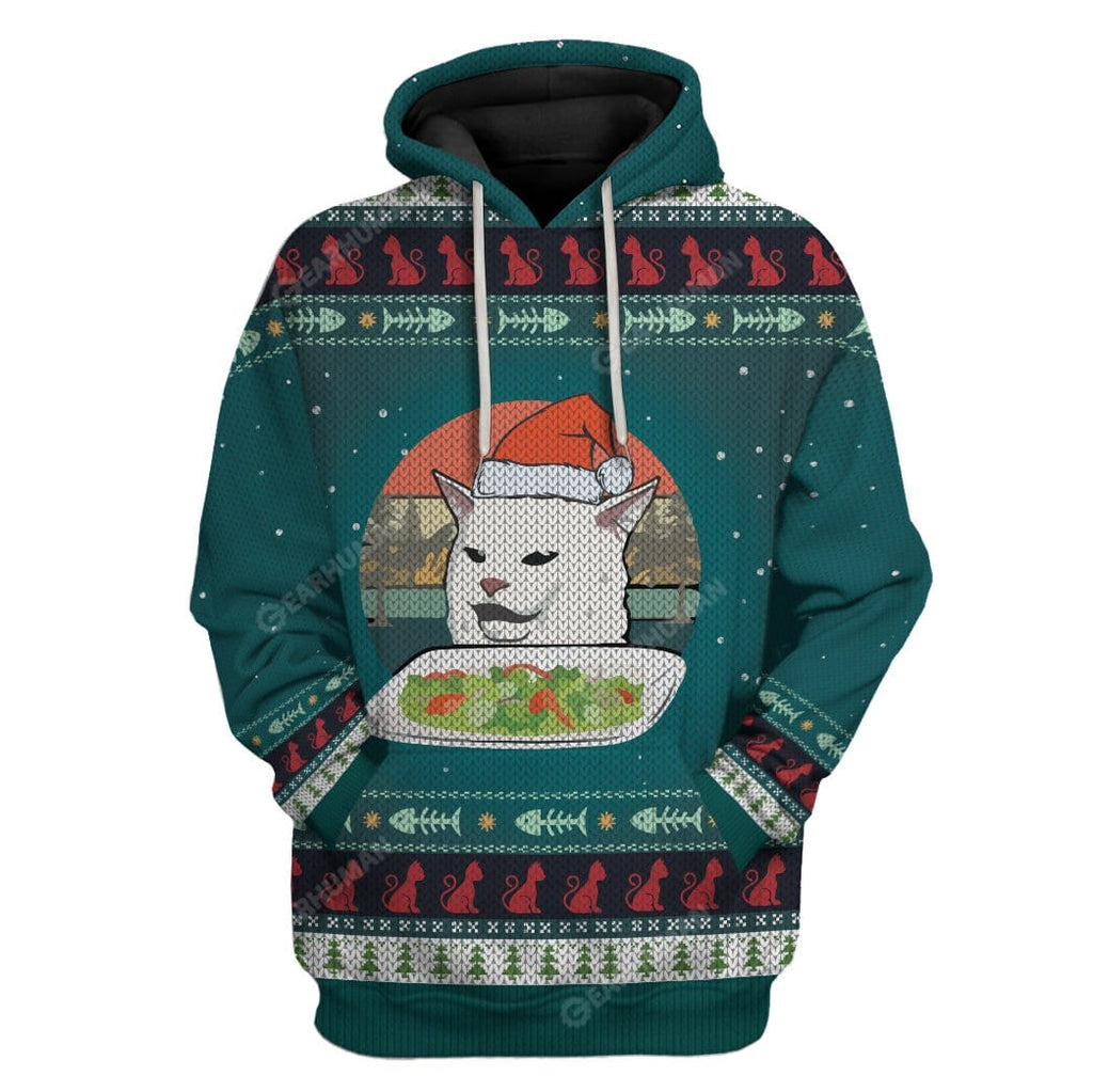Ugly Christmas Cat Custom T-shirt - Hoodies Apparel