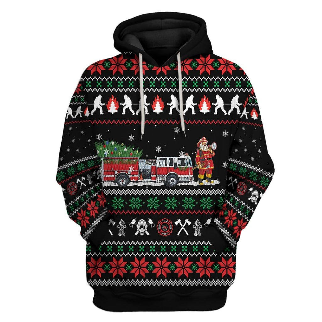 Custom Ugly Christmas Firefighter Apparel