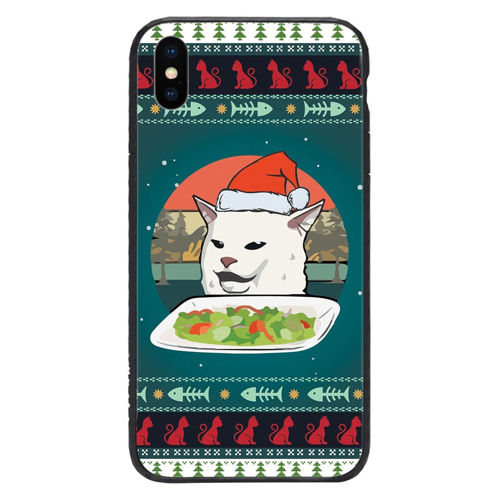 Custom Glass Phone Case Cover Christmas Cat