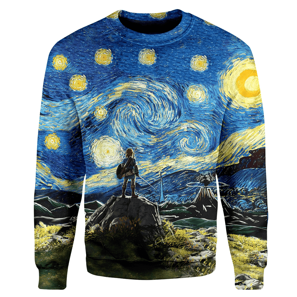 Gearhuman 3D Link Starry Night Custom Sweater Apparel