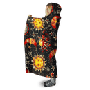 3D Sun and Moon and Stars  Full-Print Hooded Blanket