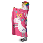 3D I love unicorn Full-Print Hooded Blanket