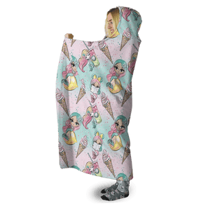 3D Beautiful Mermaid And Pastry Full-Print Hooded Blanket