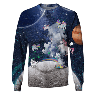 3D Astronaut Playing With Unicorn OuterSpace Full-Print T-shirt - Hoodie Apparel