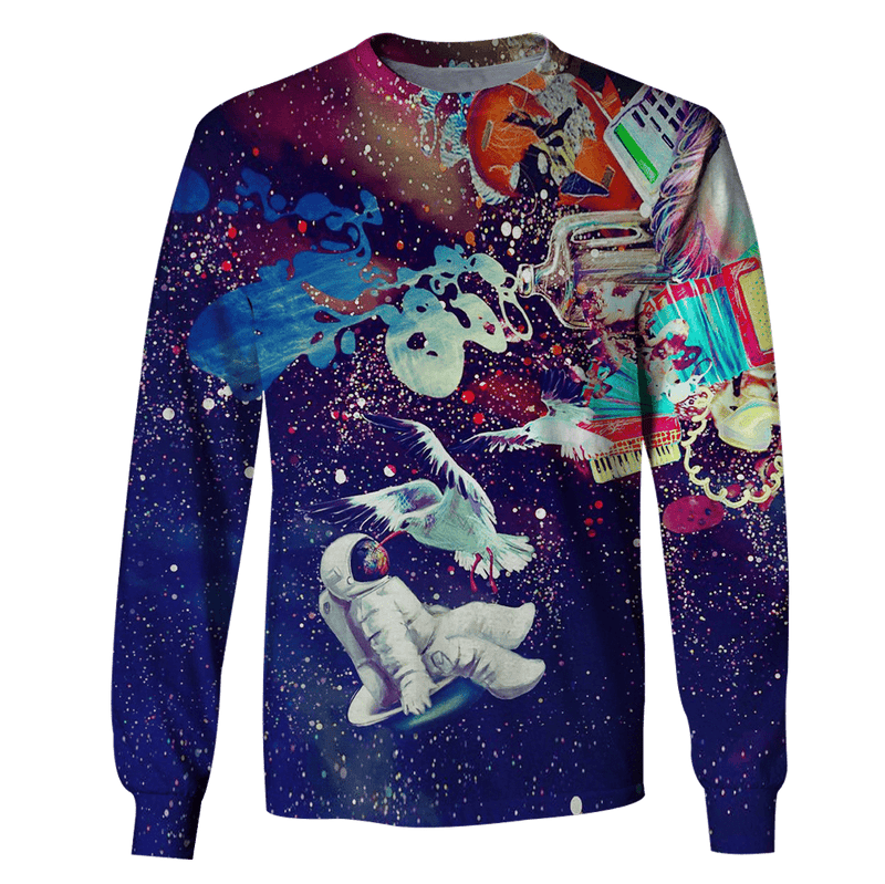1f59471d02d2 3D Astronaut with bird Full-Print T-shirt - Hoodie – Gearhuman