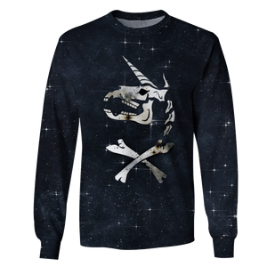 3D Pirate Unicorn OuterSpace Full-Print T-shirt - Hoodie Apparel