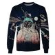 3D Astronaut in the space with moon Full-Print T-shirt - Hoodie Apparel