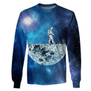 3D Astronaut in the moon's surface   Full-Print T-shirt - Hoodie