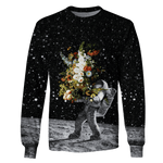 3D  Astronaut Bringing Flowers To The Moon  Full-Print T-shirt - Hoodie