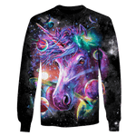 3D Unicorn and Universe Full-Print T-shirt - Hoodie