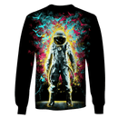 3D Black Astronaut  in the space  Full-Print T-shirt - Hoodie