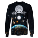 3D Earth Moon and Planets in solar system Full-Print T-shirt - Hoodie