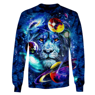 3D Lion and Universe Full-Print T-shirt - Hoodie