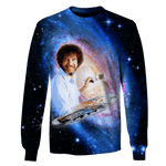 3D Bob Ross artist galaxy joy of painting Tshirt - Zip Hoodie