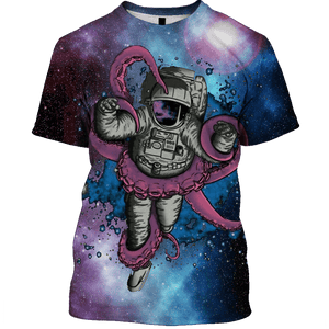 3D  Astronaut and Monster OuterSpace Full-Print T-shirt - Hoodie Apparel