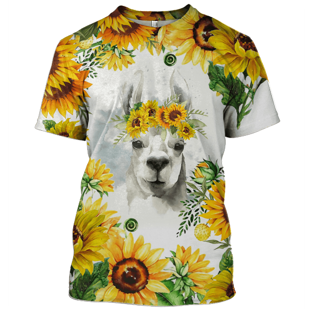 LLAMA with Sunflower Tshirt - Zip Hoodies Apparel