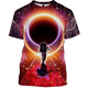 3D Astronaut with many planets   Full-Print T-shirt - Hoodie Apparel