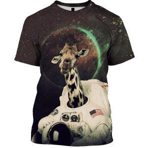 3D Astronaut Giraffe in space Tshirt - Zip Hoodie Apparel