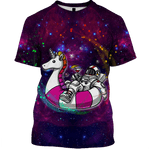3D Unicorn Astronaut OuterSpace Full-Print T-shirt - Hoodie