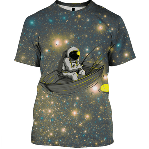 3D  Astronaut Fishing OuterSpace Full-Print T-shirt - Hoodie Apparel