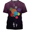3D Astronauts with planets in the space  Full-Print T-shirt - Hoodie