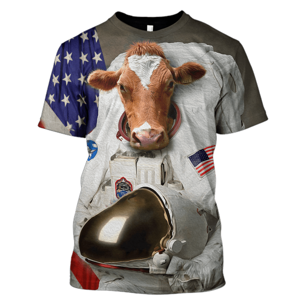 Astronaut Cow T-Shirts - Zip Hoodies Apparel
