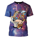 3D Astronaut thinker on the toilet reading a smartphone Full-Print T-shirt - Hoodie
