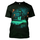 3D  Astronaut surfing in galaxy Full-Print T-shirt - Hoodie