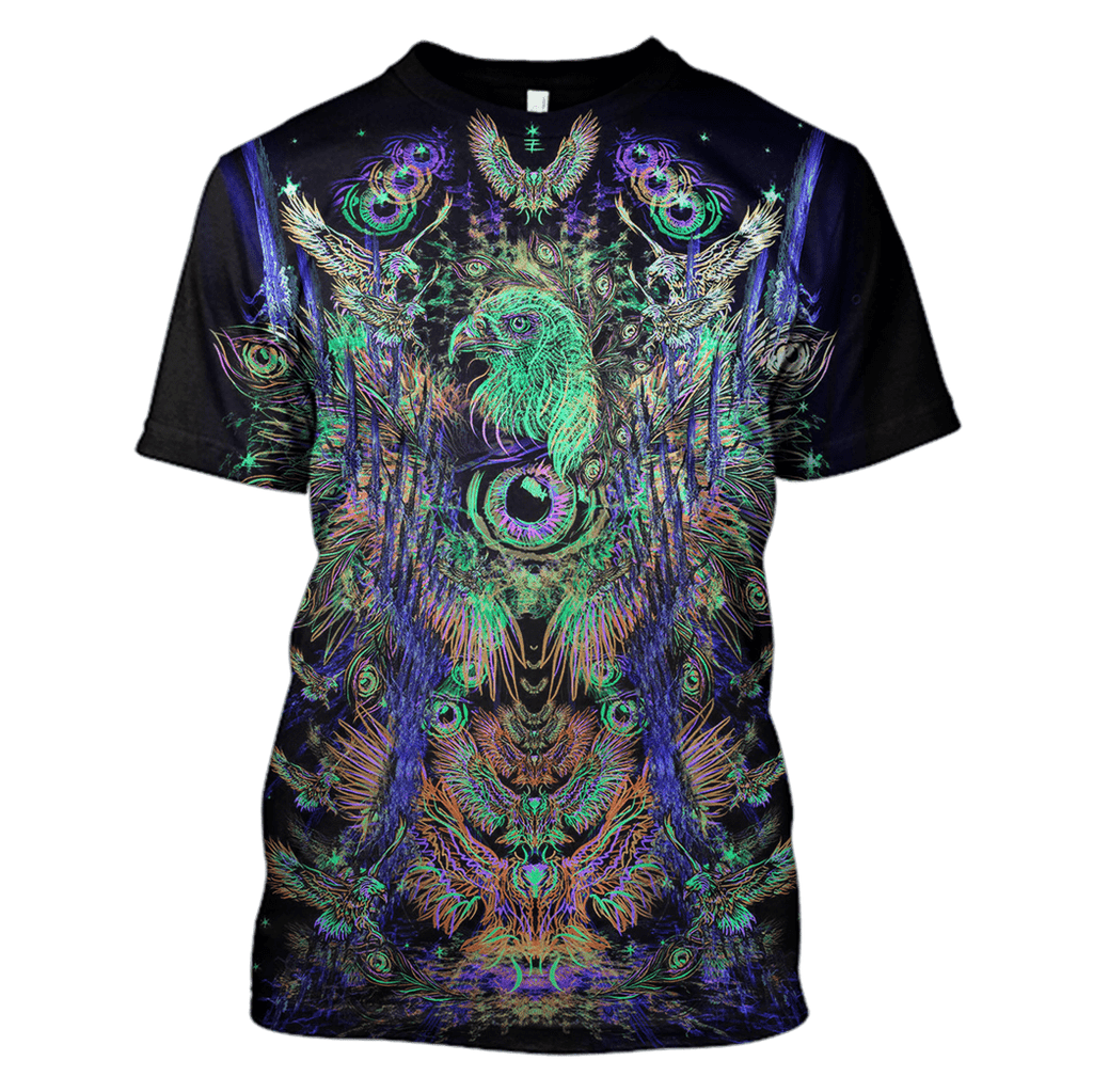 Gearhuman 3d Psychedelic Owl Hoodies T-Shirt Apparel