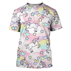 3D Unicorns With Love Hoodie - Tshirt Apparel