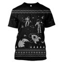 3D  Astronauts in the space with Reindeer Full-Print T-shirt - Hoodie