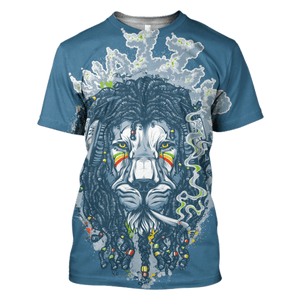 Gearhuman 3D The Rasta Lion  Hoodies - Tshirt Apparel