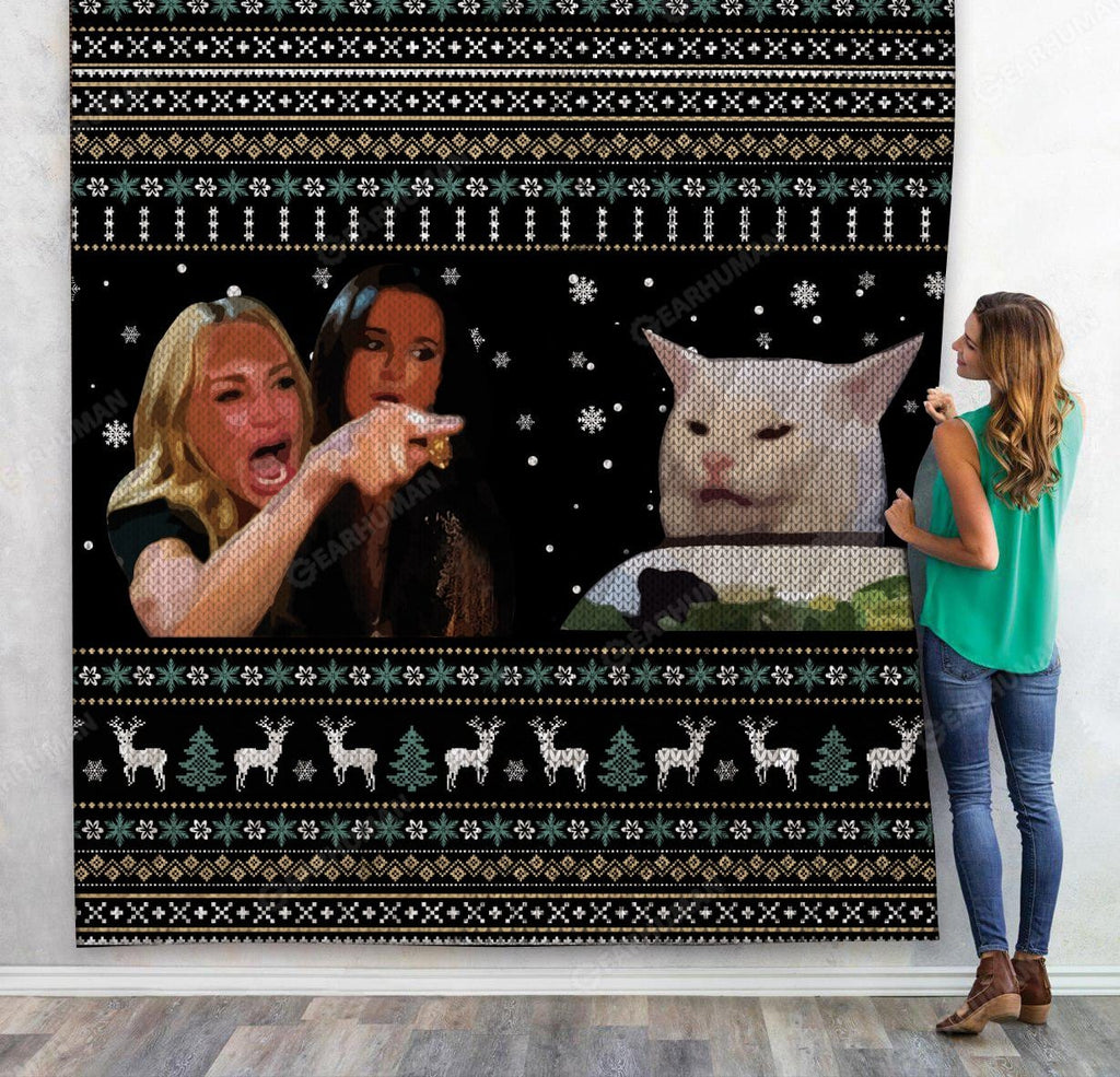 Custom Quilt Woman Yelling At A Cat