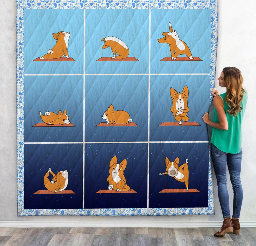 Custom Quilt Corgi Do Yoga Day To Night