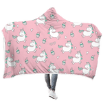 3D Unicorns love cupcake Full-Print Hooded Blanket