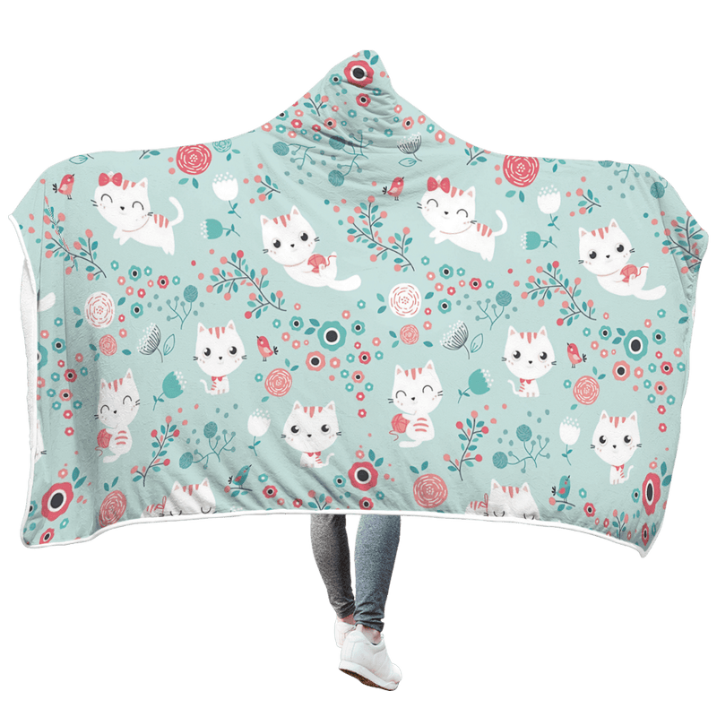 3D Naughty Baby Cat  Full-Print Hooded Blanket