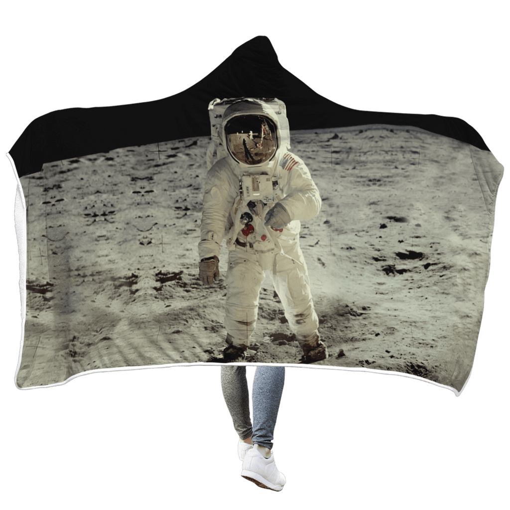 Astronaut Taking A Photo Outspace Custom Hooded Blanket