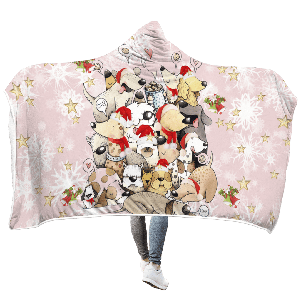 Bunch Of Dogs Playing With Each Other Custom Hooded Blanket