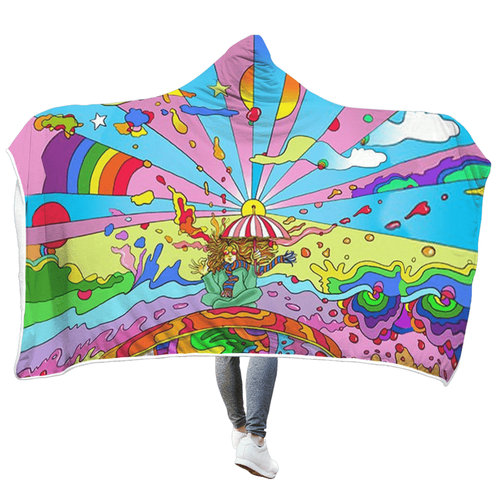 Hippie art with umbrella man Custom Hooded Blanket