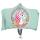 Gearhuman Unicorn with flower Custom Hooded Blanket