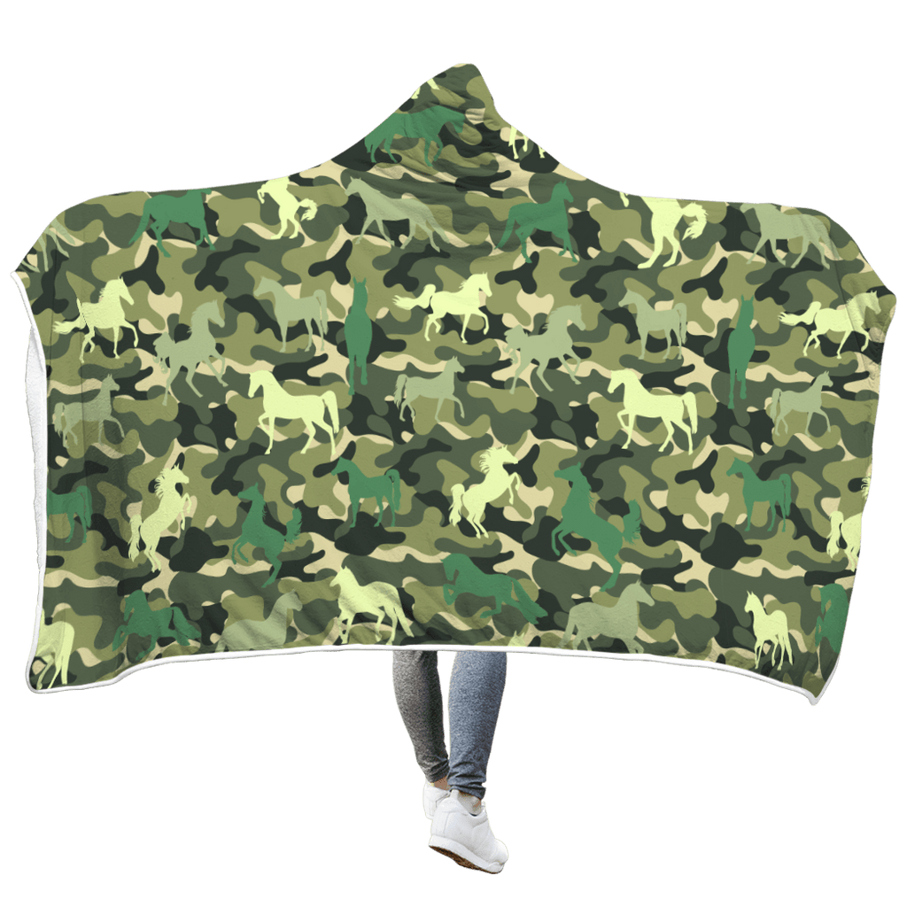 Cute Horse Custom Hooded Blanket