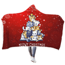 3D Meowy Christmas Full-Print Hooded Blanket