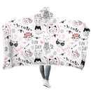 3D Cute Cat In Fun Day Full-Print Hooded Blanket